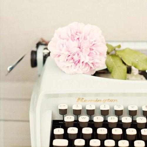typewrites and peonies.