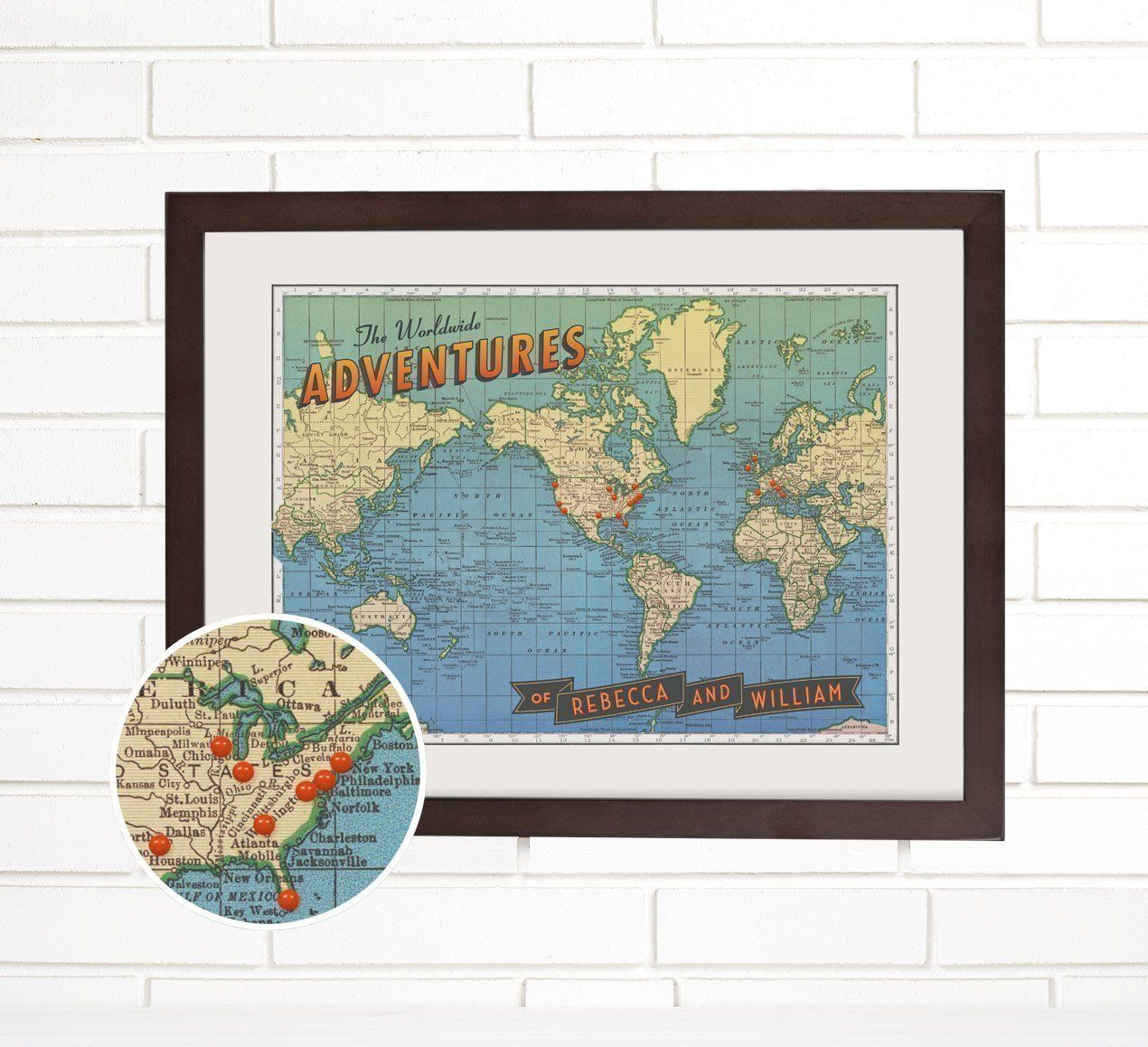 Amazon personalized worldwide adventures travel push pin map amazon personalized worldwide adventures travel push pin map handmade gumiabroncs Image collections