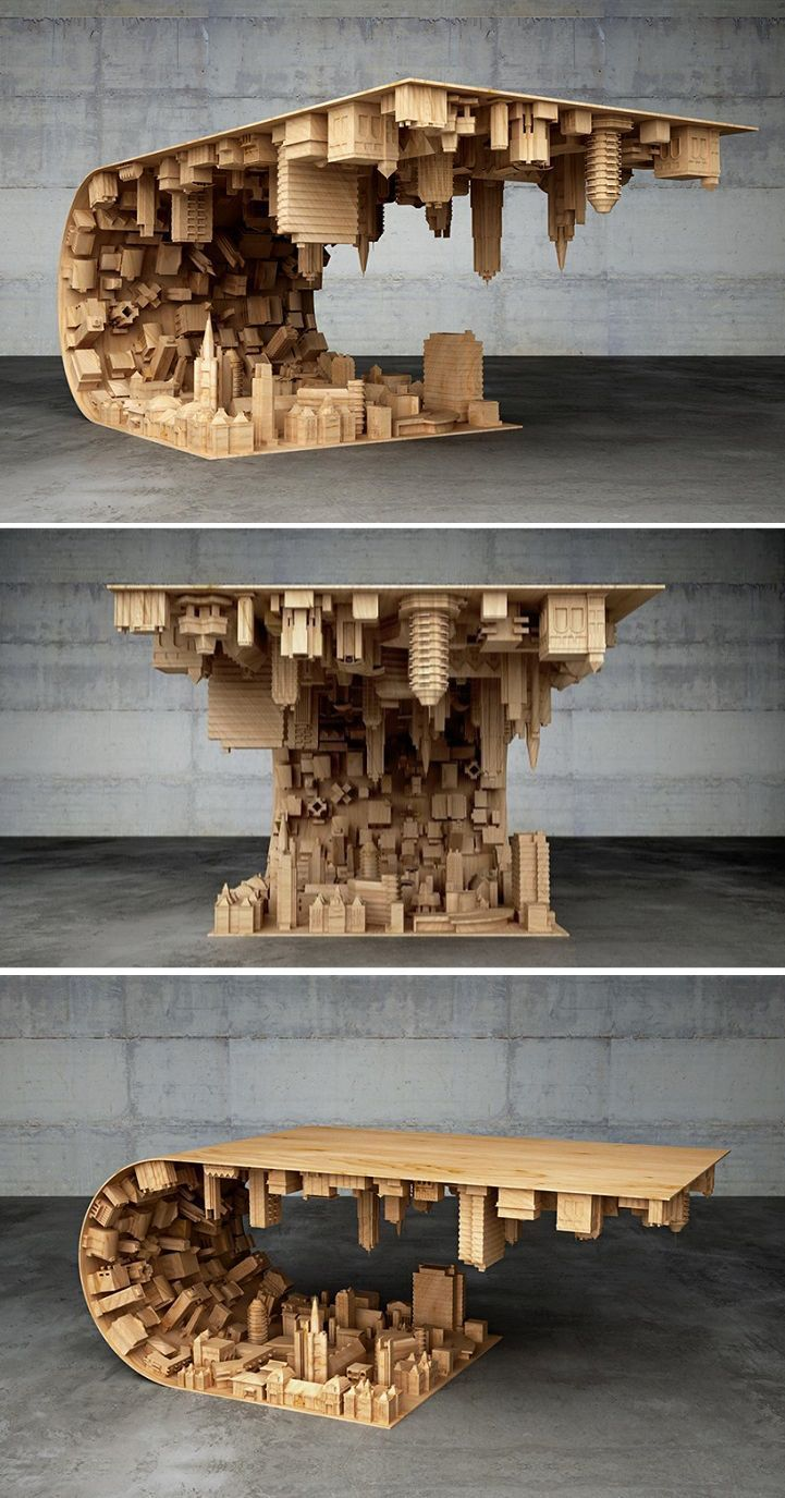 """Photo of """"Inception"""" Coffee Table Defies Gravity and Suspends Cityscape in Mid-air"""