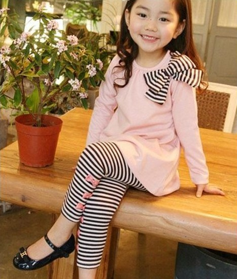 Toddler girl clothing sets children clothes kids top with bow striped leggings 2pcs #stripedleggings