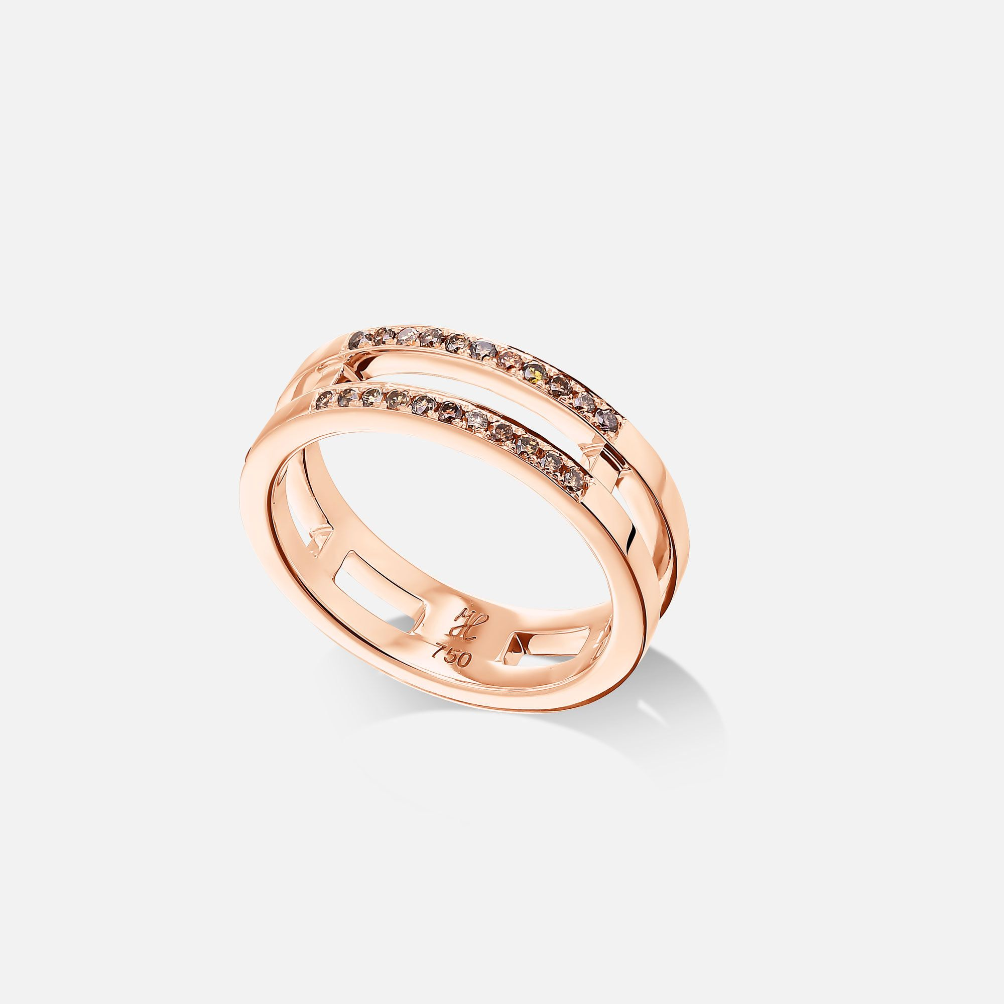 Rose Gold Wedding Band 18k Rose Gold Wedding Ring Solid Gold Thin Double Band Ring With Cognac In 2020 Rose Gold Diamond Band Cognac Diamonds Rose Gold Diamond Ring