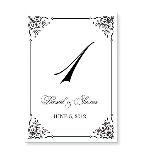 Table Number Template Printable INSTANT DOWNLOAD For Word And - Wedding table numbers template