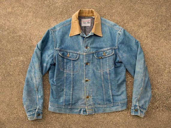 8a4640a5 Jean Jacket L - Vintage Lee Storm Rider Jean Jacket Men's Large- Blanket  Lined Jean Jacket- Corduroy Collar- Vintage Lee Denim Jacket Mens L