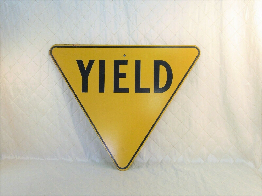 Yield Sign Retired Vintage Road Street Sign Yellow And Black British Columbia Bc Ebay Yield Sign Street Signs Arrow Stamp