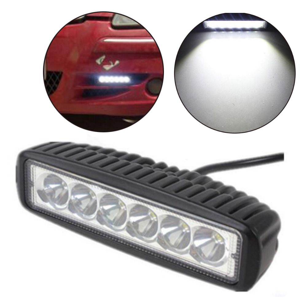 2pcs 6 Inch Spot Single Row 18w 4x4 Truck Offroad Car Led Work Light Bar For J Eep 12 Volt Car Led 4x4 Trucks Car Headlights