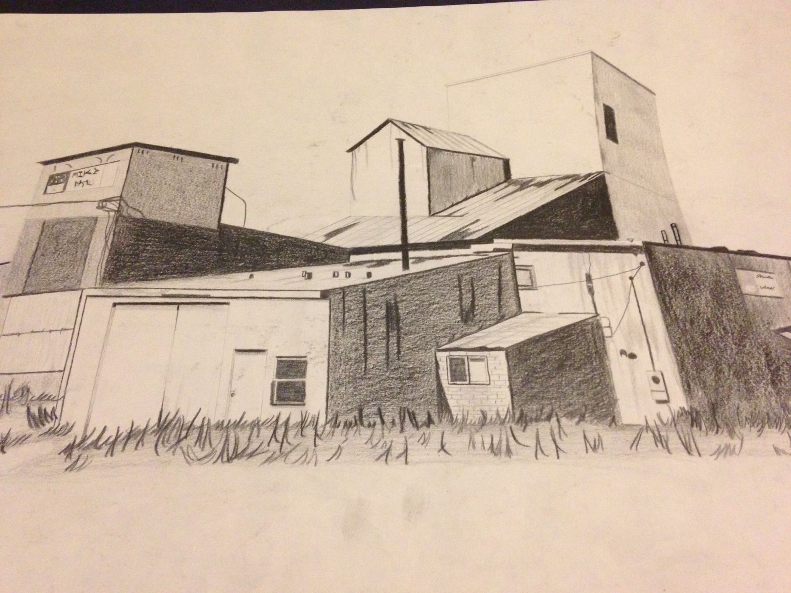 old country barn building using 2 pencil on 11 x 17 drawing paper