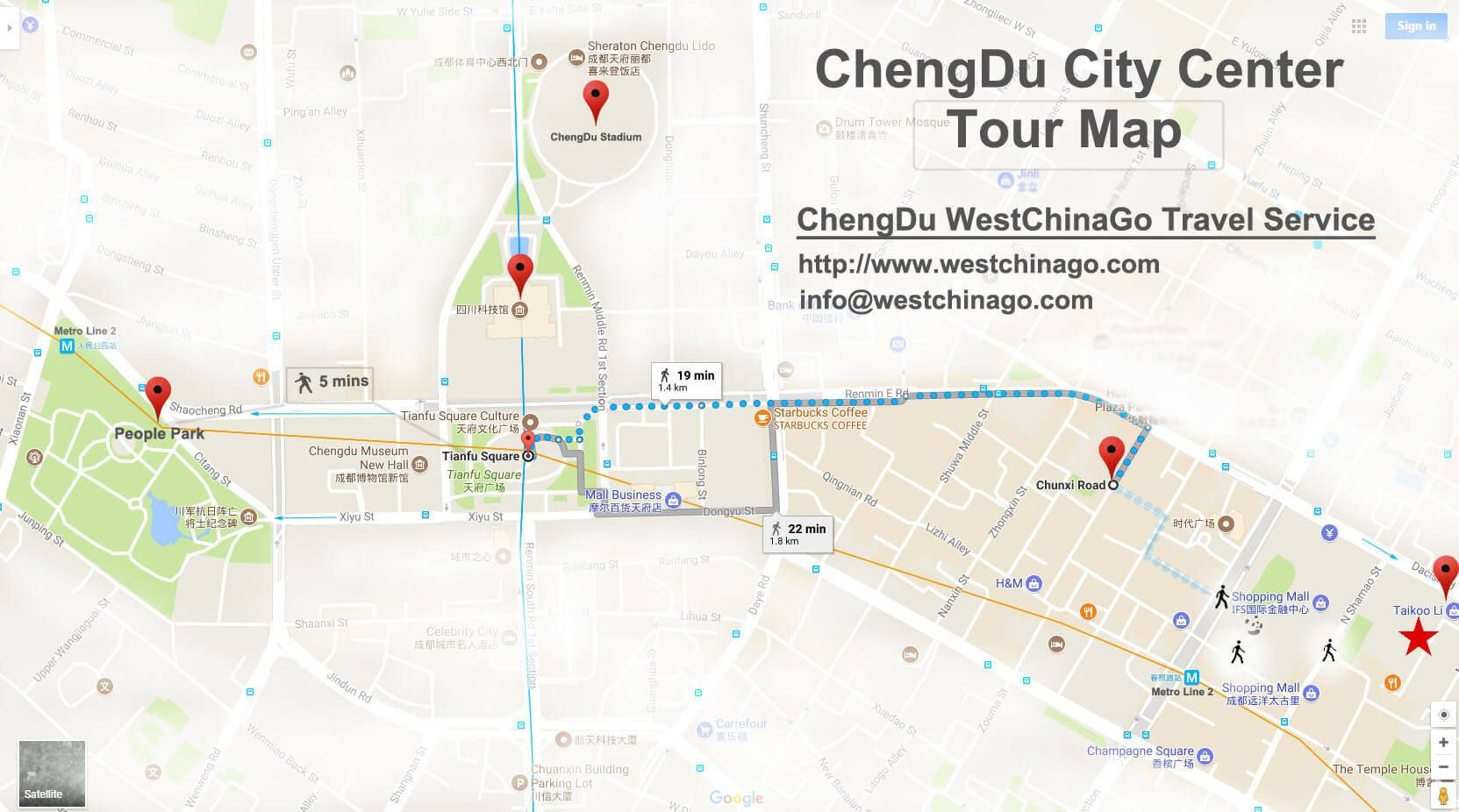 chengdu city center tour map httpwwwwestchinagocom chengdu