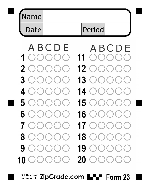 Bubble Answer Sheet 1 50