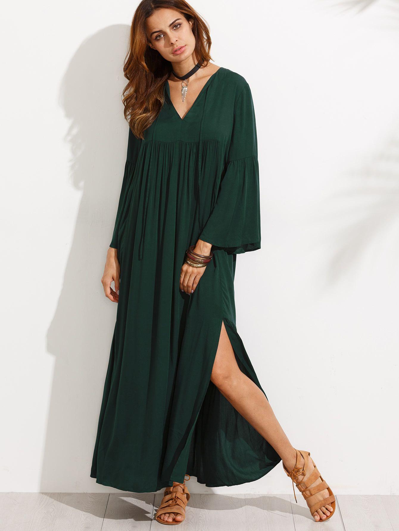 Bell sleeve split maxi dress pinterest dress online maxi