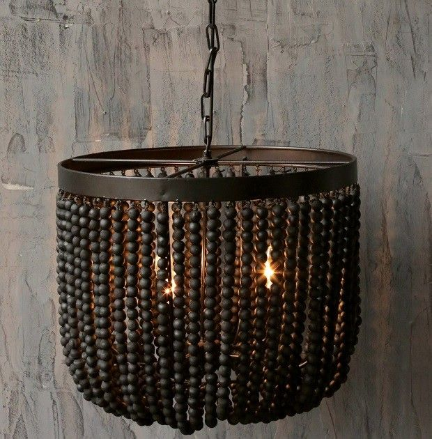 Black Beaded Chandelier Wood Bead Chandelier Beaded Chandelier Wooden Bead Chandelier