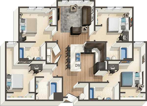 Downtown Boise Apartments River Edge Student Housing Floor Plans Student House River Edge
