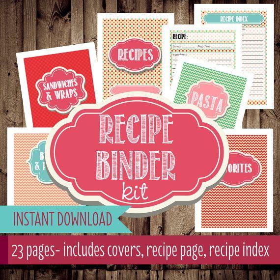 Recipe Book Cover Diy : Recipe binder printables organizer printable