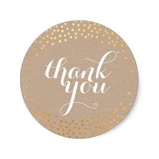 Cute thank you seal rustic gold confetti kraft