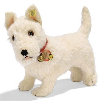 A STEIFF LARGE STANDING SEALYHAM, (1325,02), white wool plush, brown and black glass eyes, black stitching, large squeaker, collar with bell and card tag and FF button with yellow cloth tag, 1930s --13½in. (34.5cm.) long