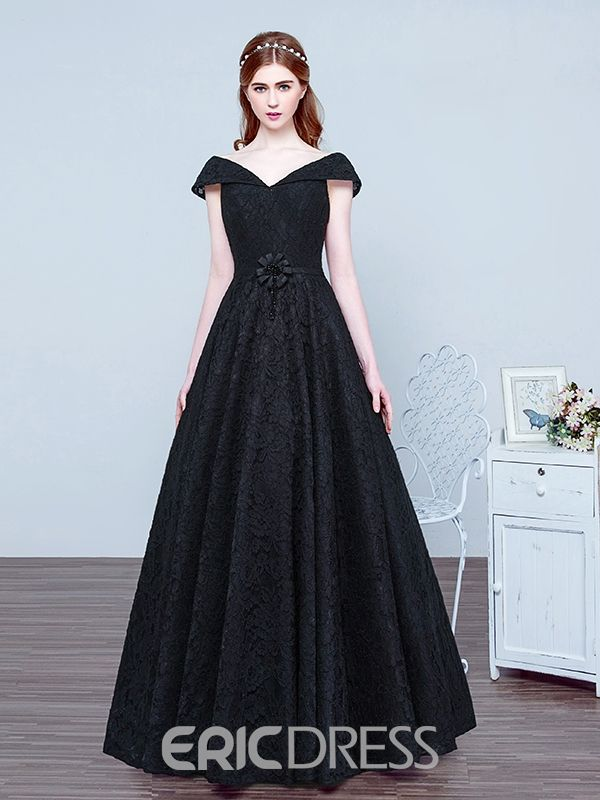 9709f34b69d5f0 Ericdress V Neck Bowknot Beading Lace Evening Dress | لباس مجلسى in ...