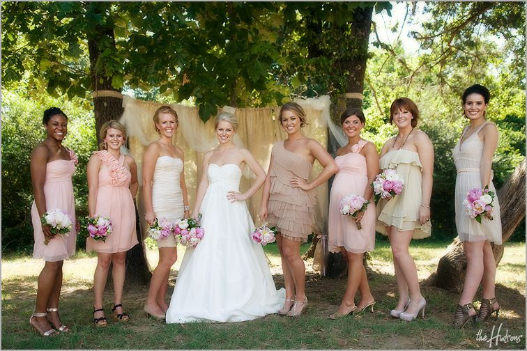 DREAM wedding. love everything from the dresses and flowers to the barn reception!