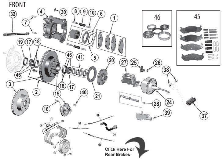 jeep cj series brake parts quadratec jeep cj 5 pinterest rh pinterest com Jeep CJ7 Wiring-Diagram jeep cj7 rear brake diagram