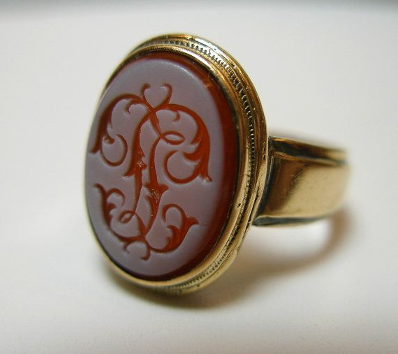 Estate Rare Antique 18K Solid Gold Signet Ring Victorian Wax Seal Vintage Intaglio Agate Stamped Jewelry Fine Jewellery