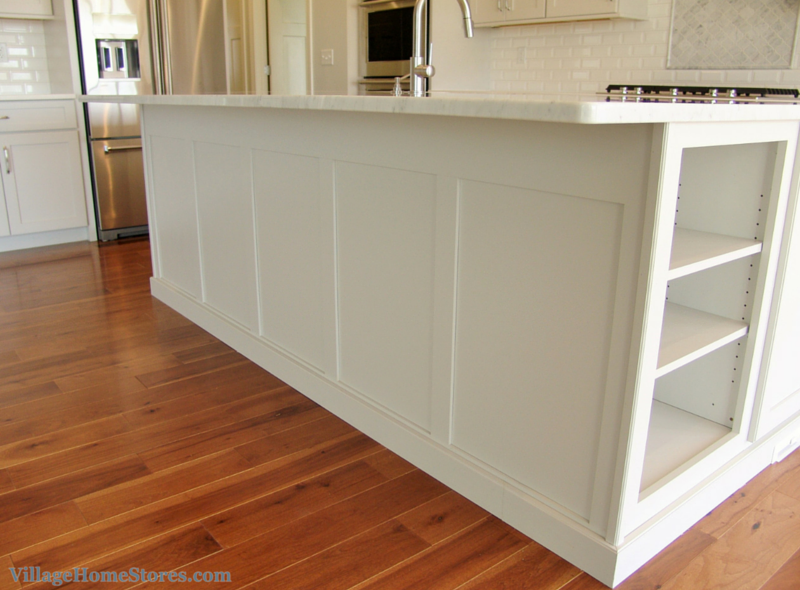Custom Wainscot Panel Finishes Off The Back Of A Kitchen Island