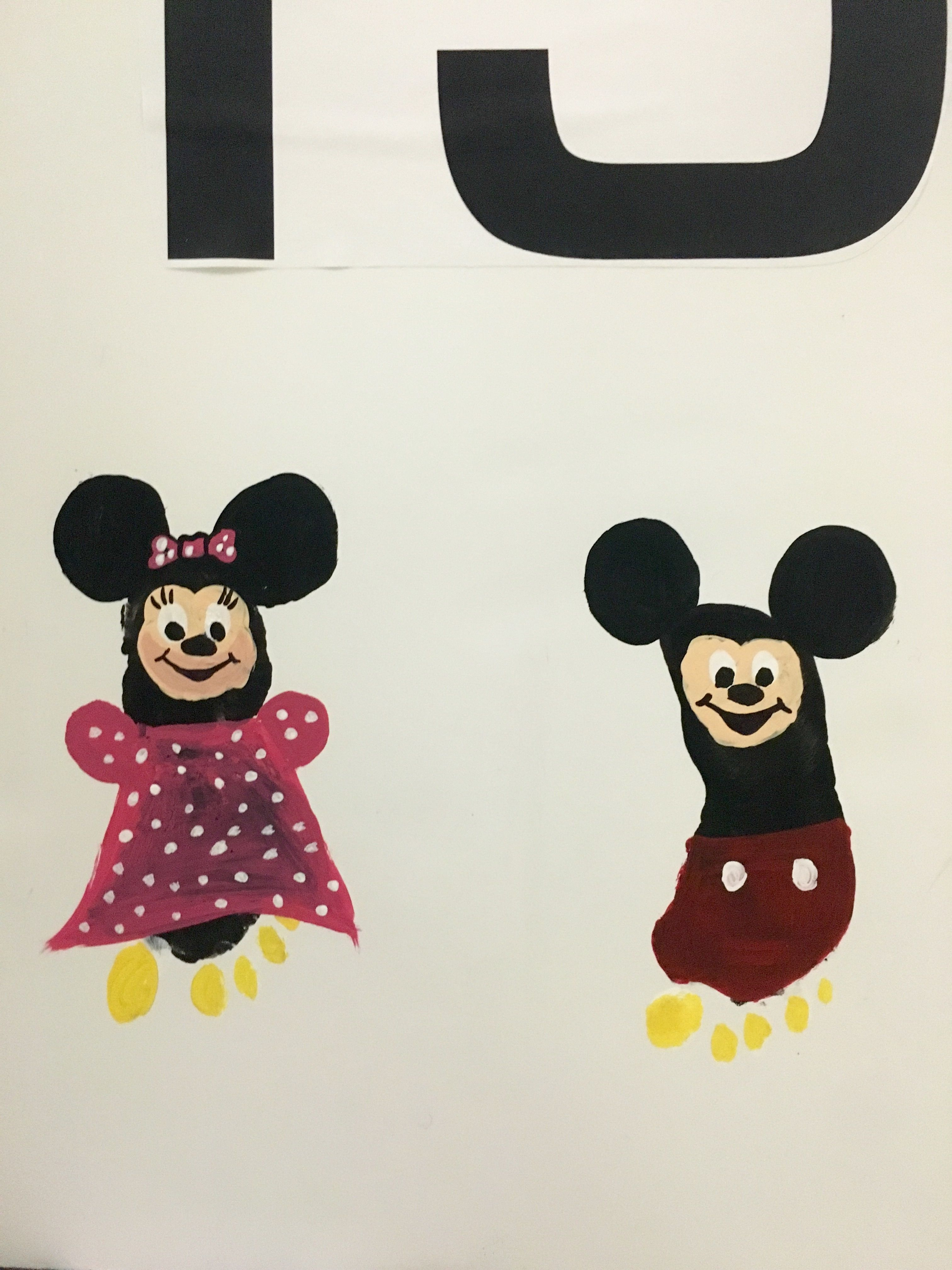 Minnie And Mickey Mouse Kids Footprint Craft Mickey Mouse Crafts