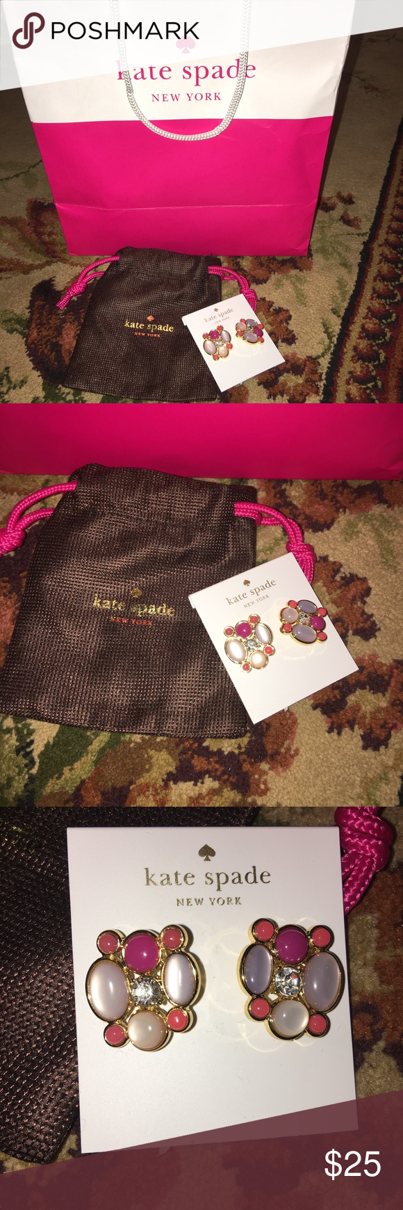 New authentic Kate Spade earrings! Comes from a smoke free home! Brand new! The listing does include the mini dust bag for the earrings as well! kate spade Jewelry Earrings