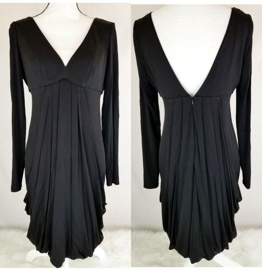 872dbf44e85 Nine West Dress Size 10 Black V-Neck V-Back Plunge Drape Pockets Long  Sleeve 888  NineWest  LittleBlackDressShiftDress  PartyCocktail