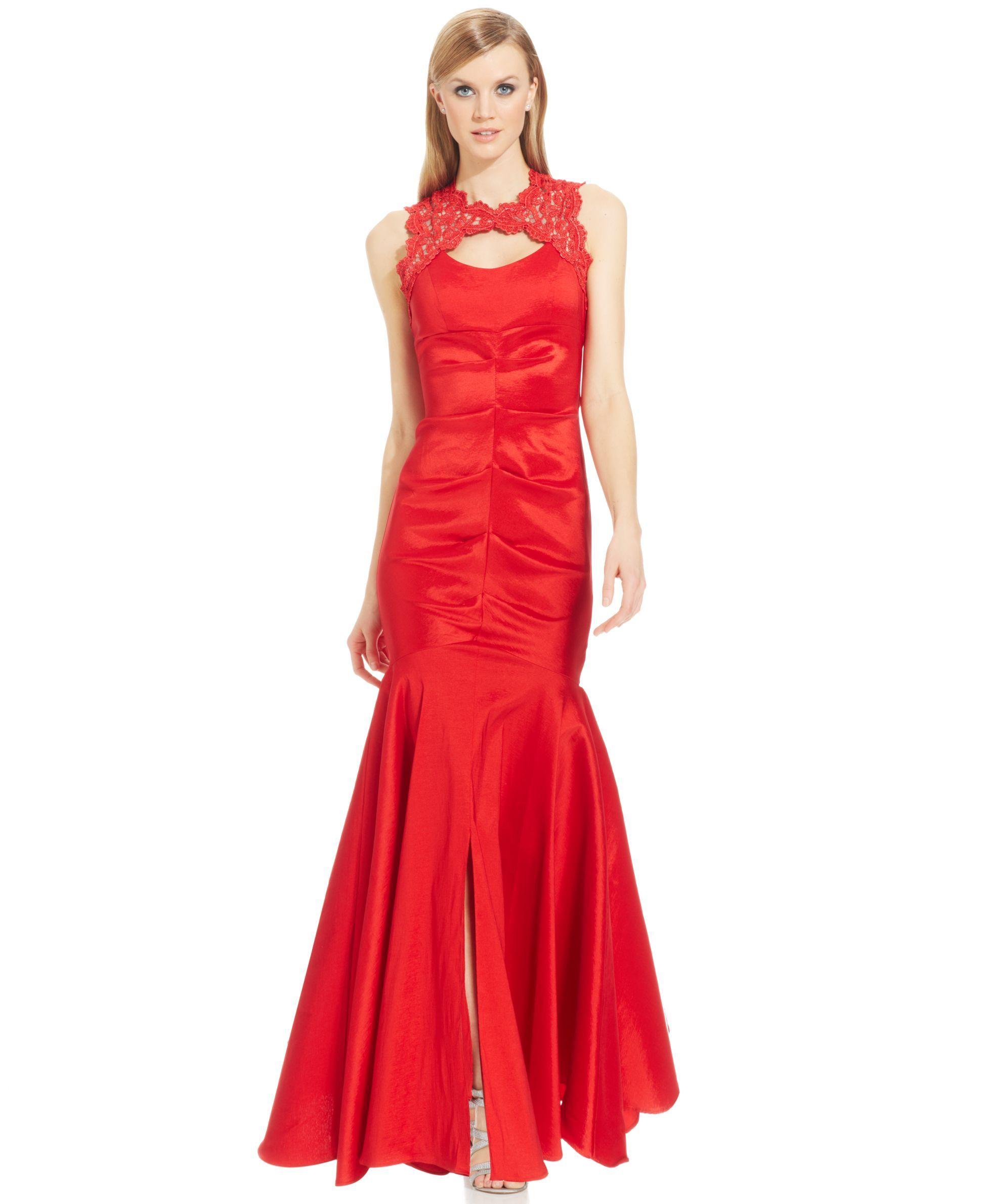 Xscape Sleeveless Glitter Lace Mermaid Gown | fashion | Pinterest ...