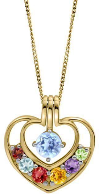 Zales Mother S Birthstone Double Heart Pendant In 14k