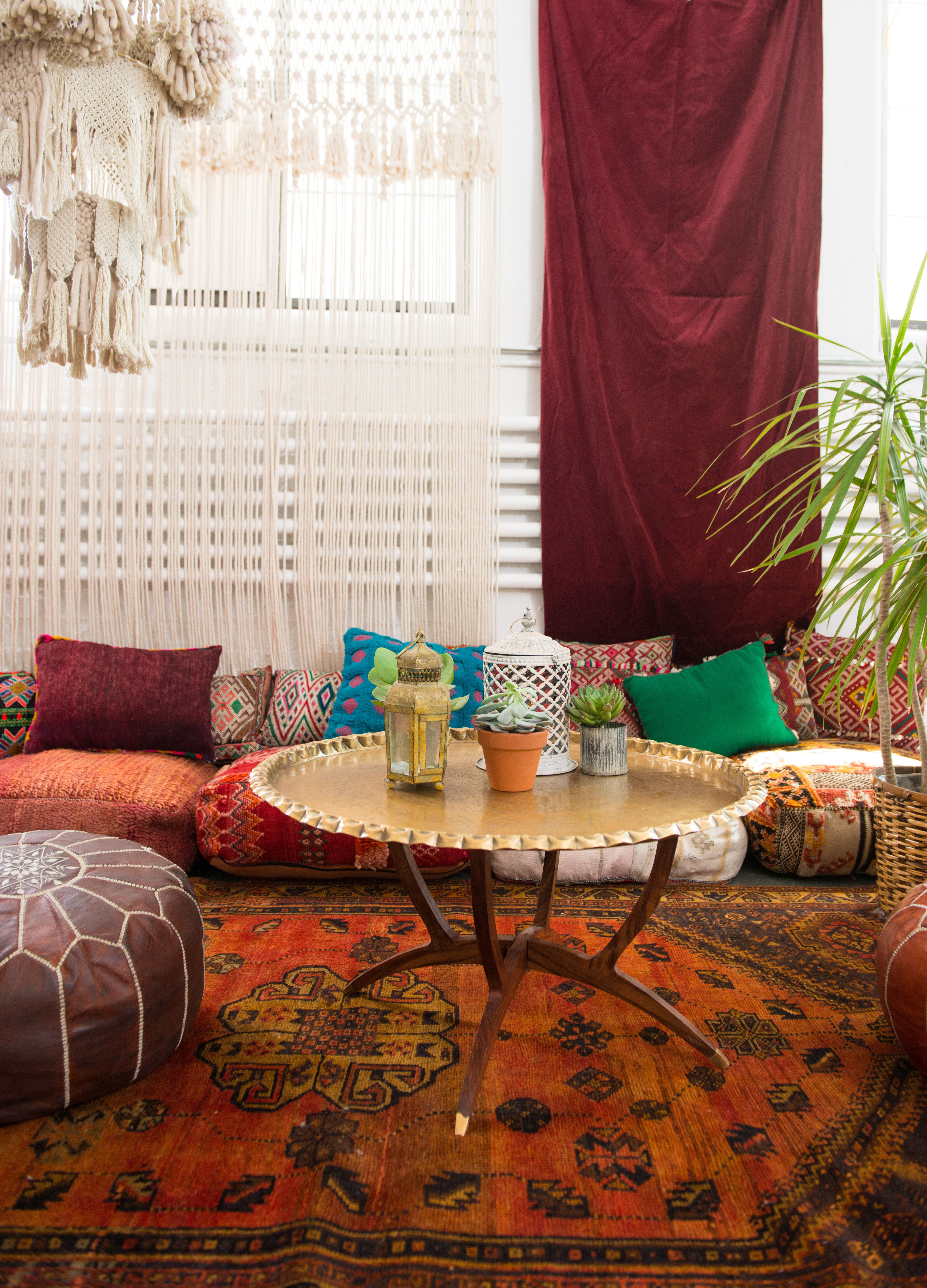 Moroccan Floor Seating Corner Featuring The Zara Table | Patina