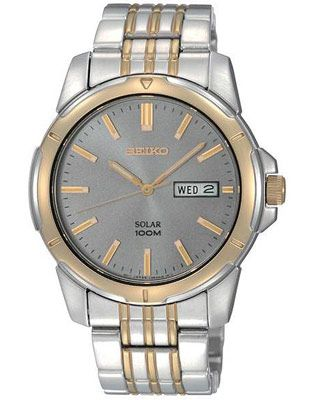 Seiko Solar Mens Two Tone Day Date Watch Charcoal Dial 100m