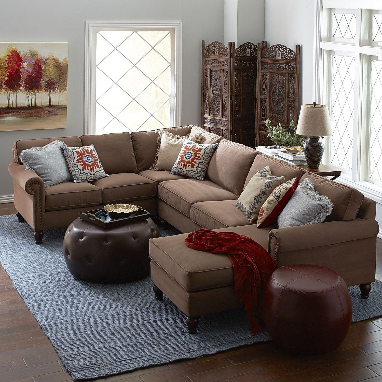 Build Your Own Mahogany Brown Rolled Arm Sectional Collection - Pier 1 living room