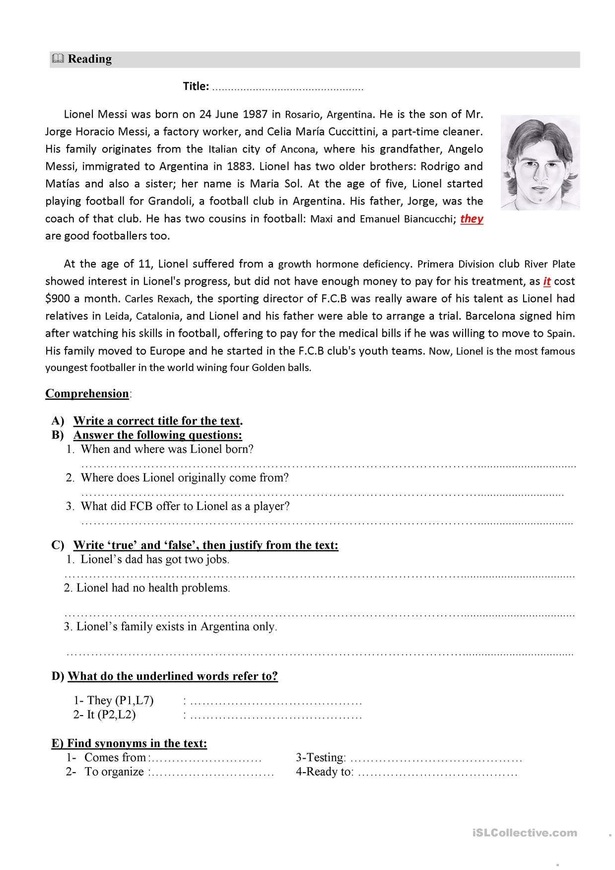 One click print document   Reading comprehension texts ...