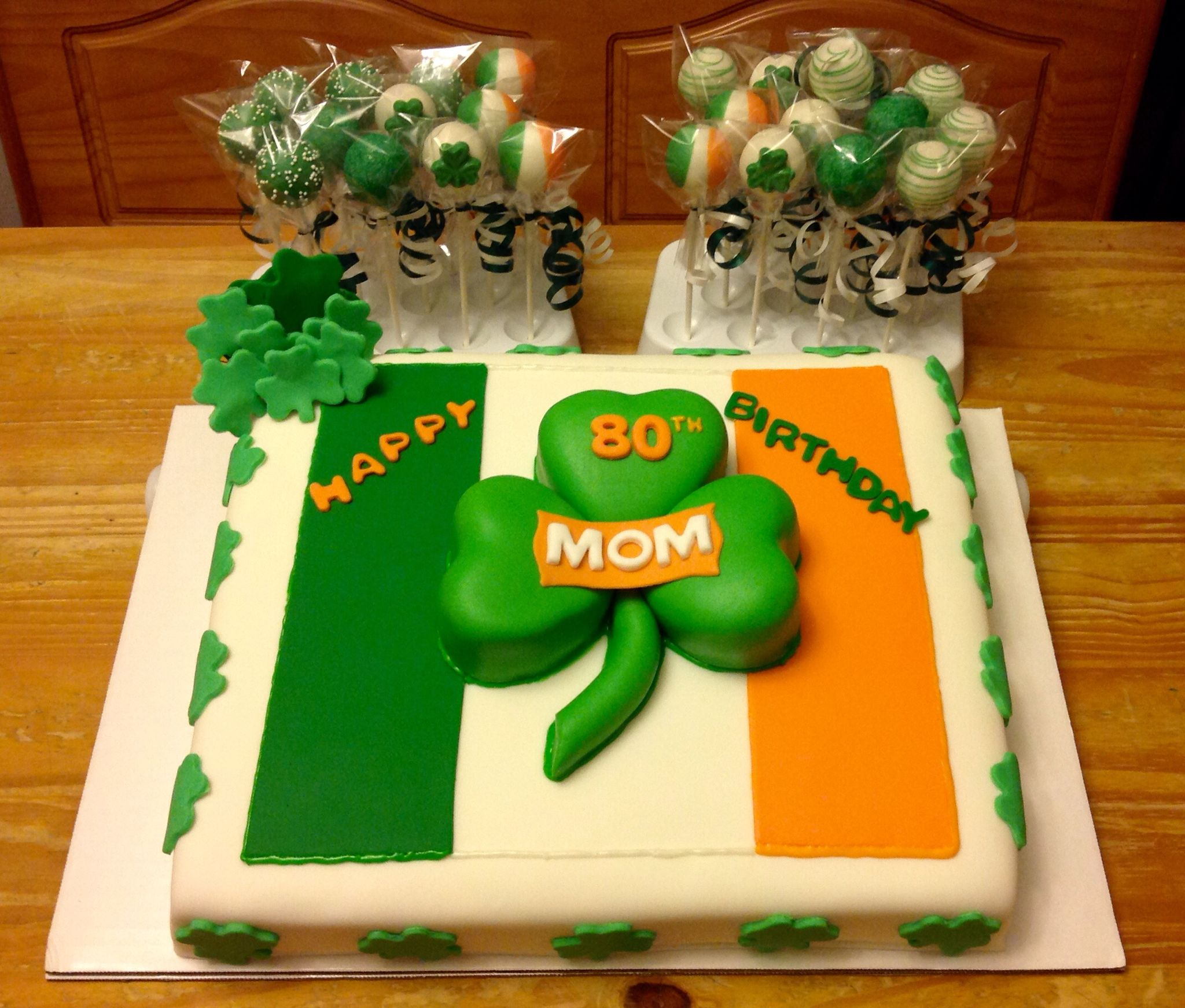 Irish flag shamrock theme birthday cake and cake pops