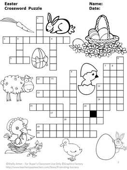 Easter Vocabulary Will Be A Breeze With The Fun Crossword Puzzle Clues Are On Separate Page Along An Optional Word Bank For Easy