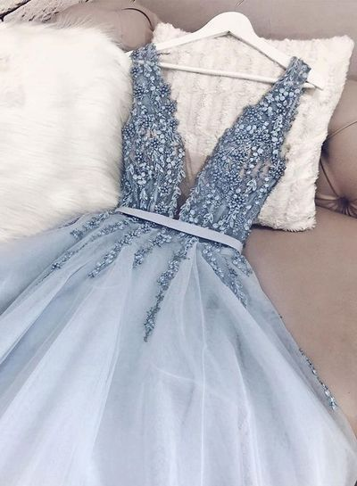 V Neck Backless Light Blue Appliques Long Prom Dresses ML2898