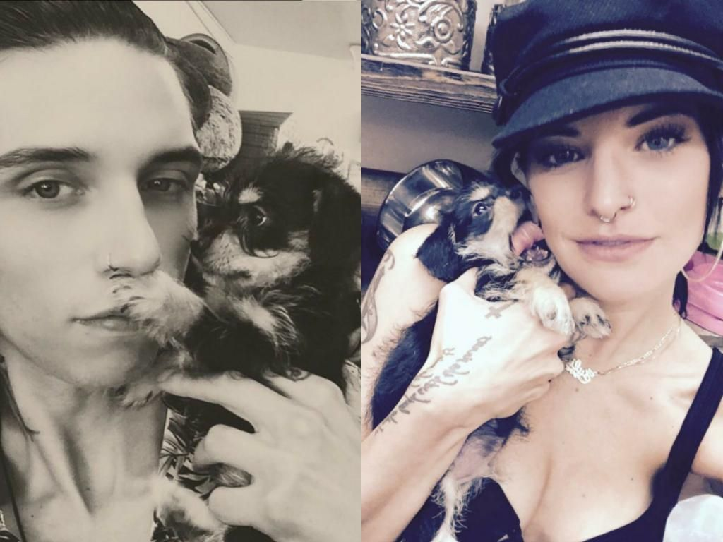 Andy and Juliet with their blind puppy Daredevil