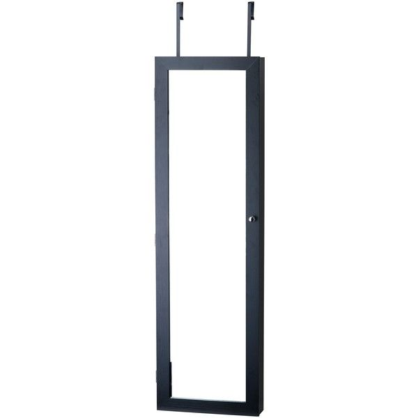 InnerSpace Black Over-the-Door / Wall-Hang / Mirrored Jewelry Armoire featuring polyvore, home, home decor, jewelry storage, brown, jewellery armoire, storage tray, jewelry storage armoire, jewelry storage trays and jewelry tray