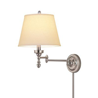 Allen Roth 15 62 In H Brushed Nickel Swing Arm Wall Mounted Lamp With Fabric Shade With