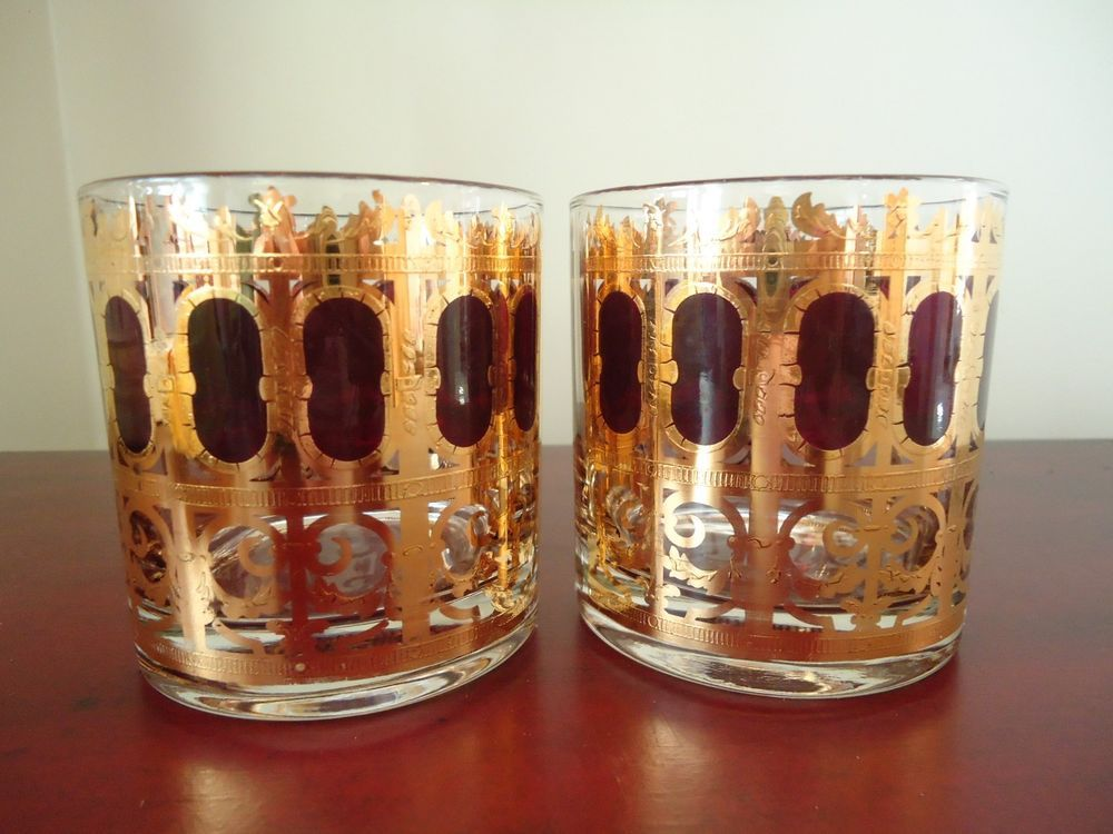Culver Cranberry Scroll Rocks Glass Set 2 Vintage Drinkware Barware Signed  #Culver