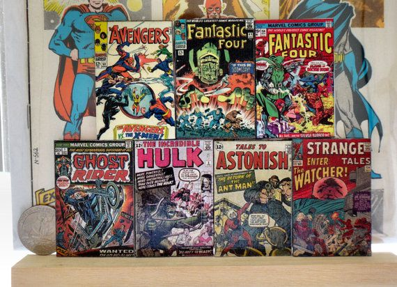 Comic book cover magnet set - vintage Avengers, Fantastic Four, Ghost Rider, Hulk comic book covers