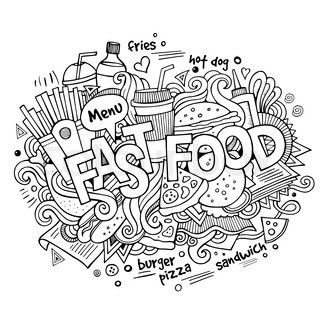 Fast food hand lettering and doodles elements background ...