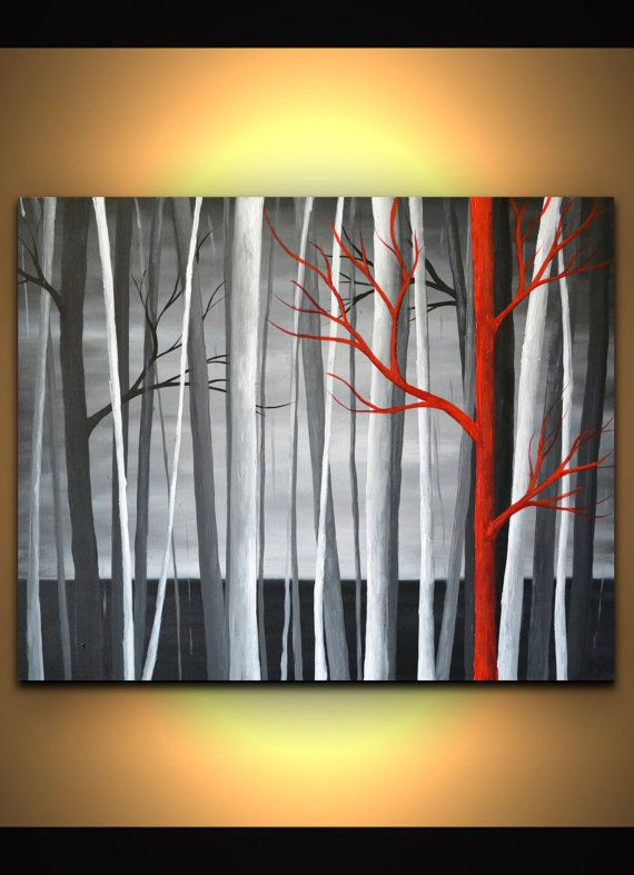 black white red landscape original artwork canvas wall art abstract tree painting modern home office decor