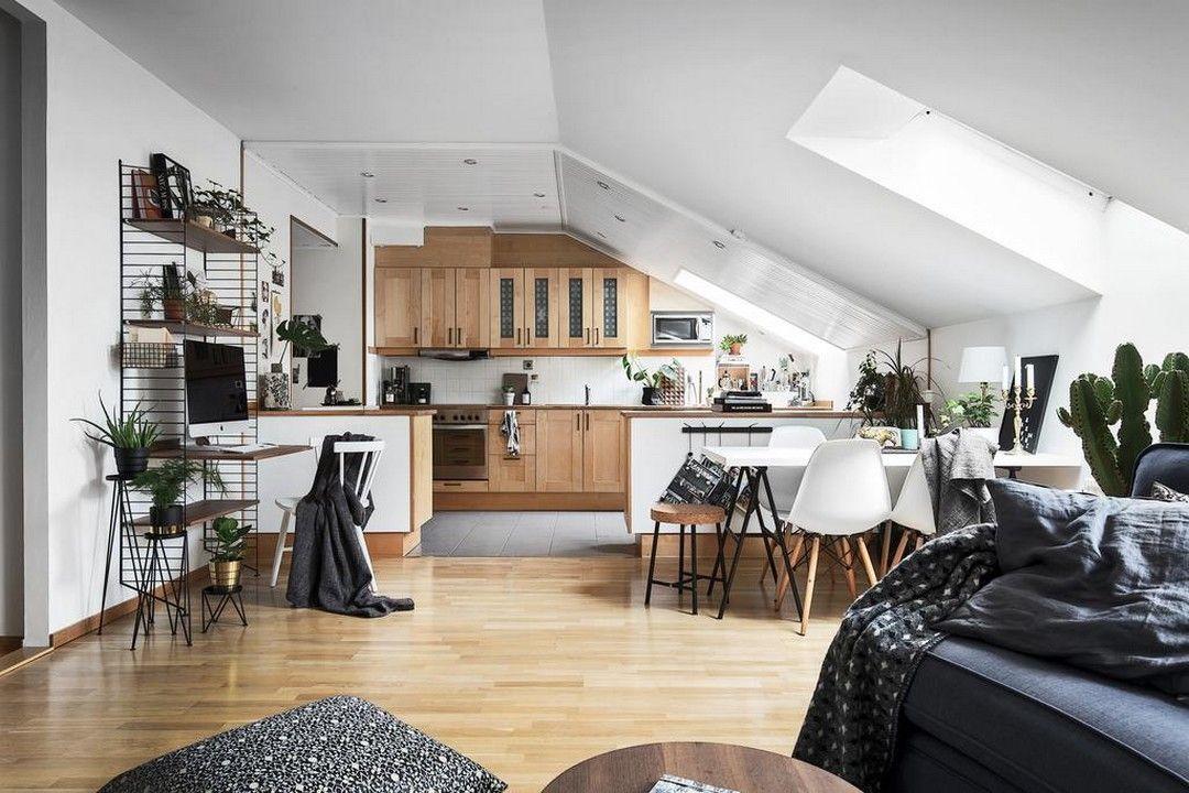 Cucina e living in un unico spazio | Cucinare in mansarda ...