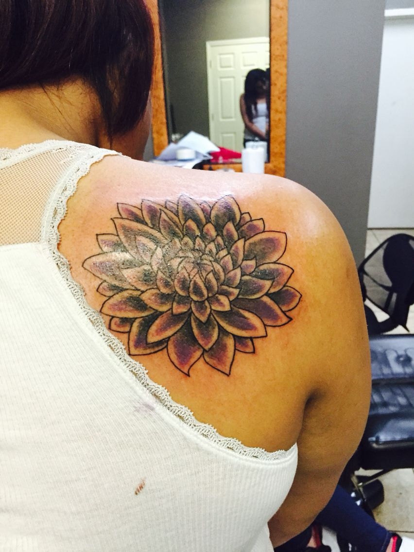 Lotus Flower Bomb purple and black shading tattoo