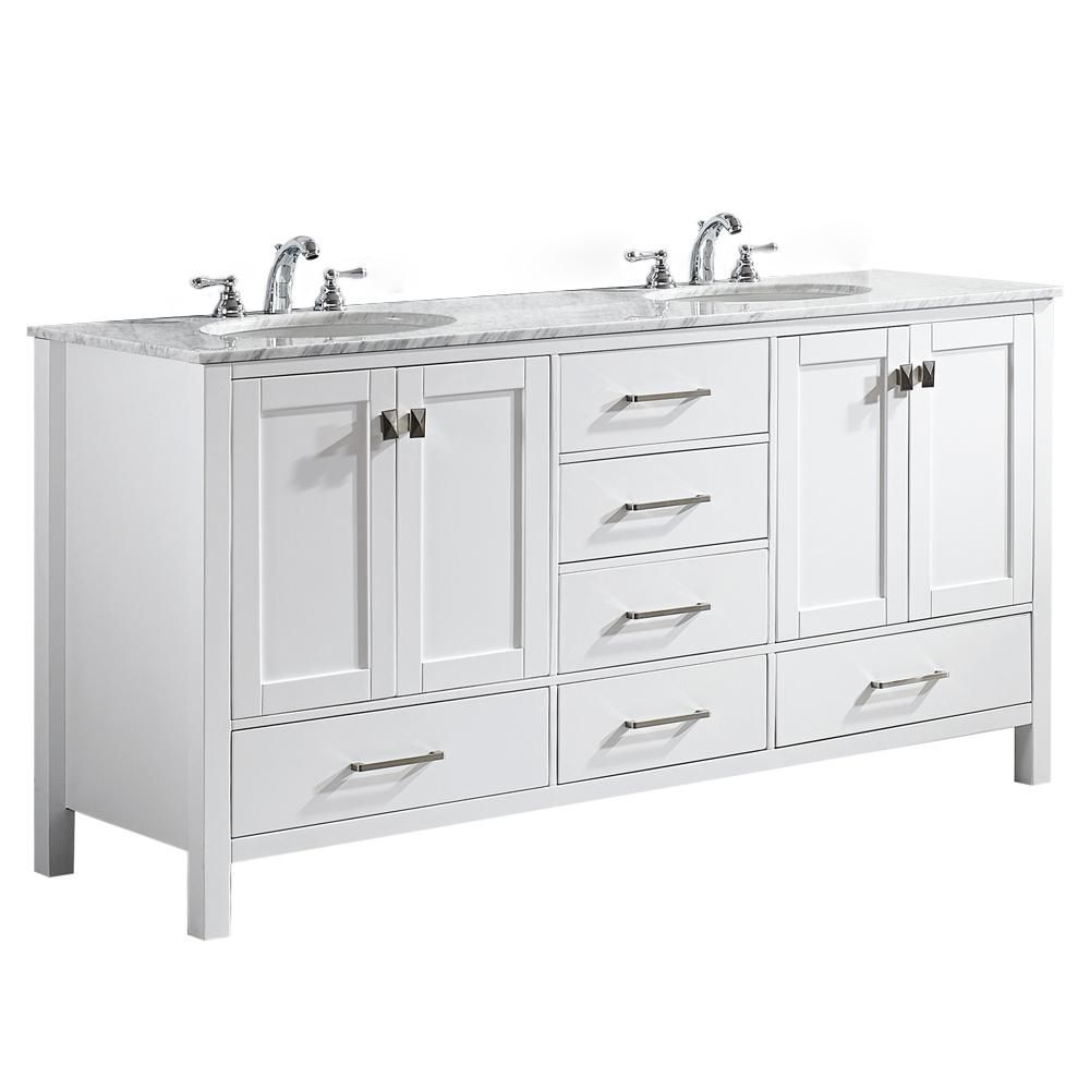 Roswell Gela 72 In W X 22 In D X 35 In H Vanity In White With Marble Vanity Top In White With White Basin 723072 Wh Ca Nm Double Vanity Bathroom White Double Vanity
