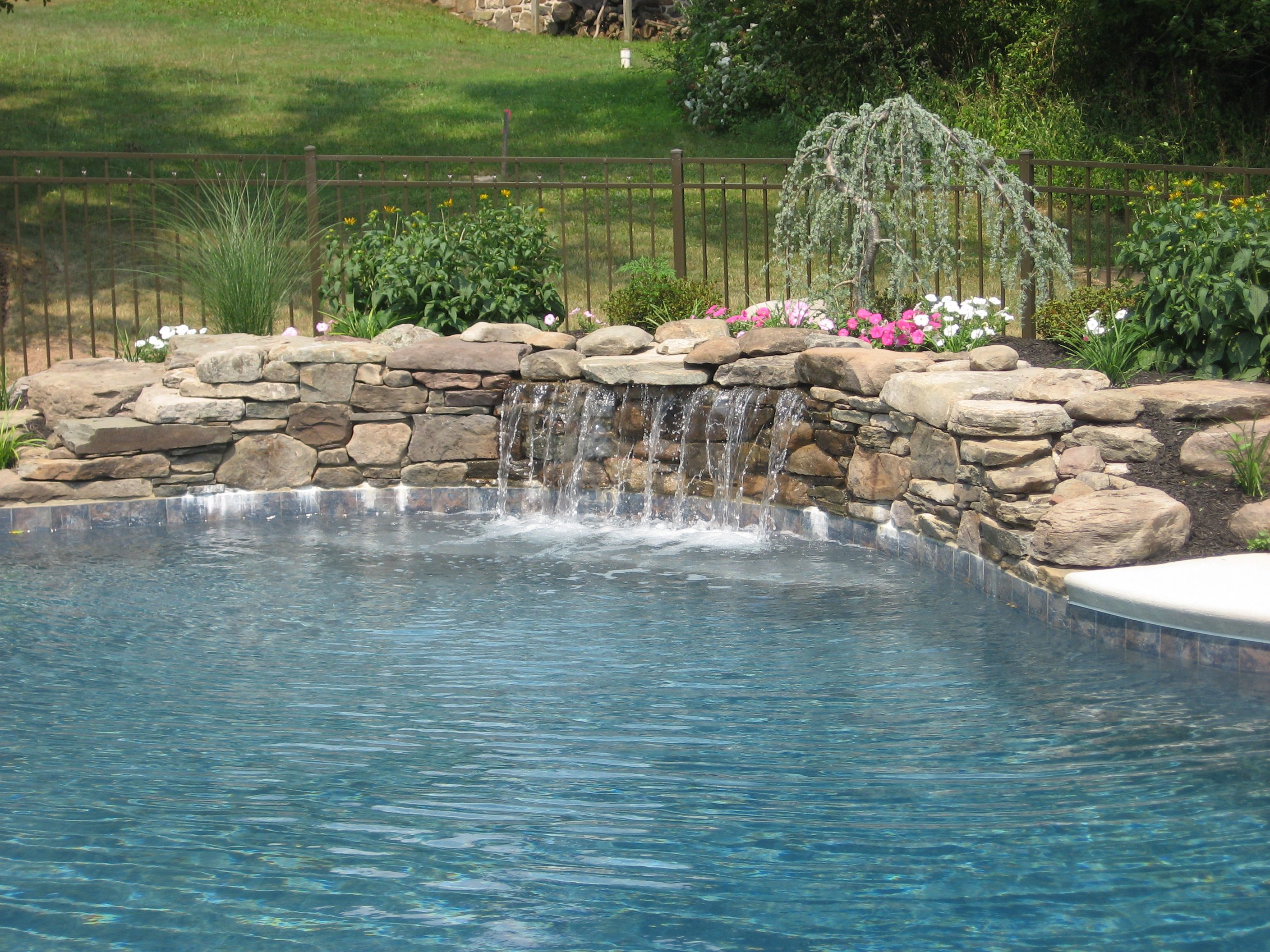 Pin By Fs Landscaping Contractors In On Pool Waterfalls Pool Picture Custom Pools Pool Waterfall