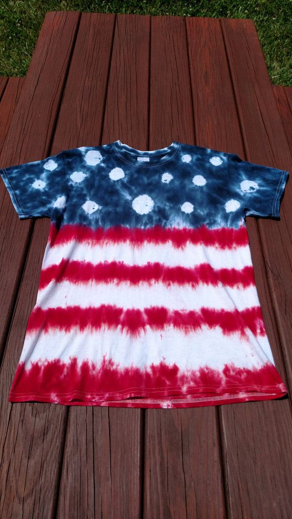 This Gorgeous American Flag Tie Dye Shirt Will Be Custom Hand Made Just For You As With All Tie Dyed Items There Ma Tye Dye Shirts American Flag Tie Tie Dye
