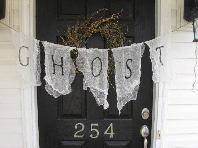 GHOST...cheesecloth scrim Pennant Bunting Banner. $26.00, via Etsy.