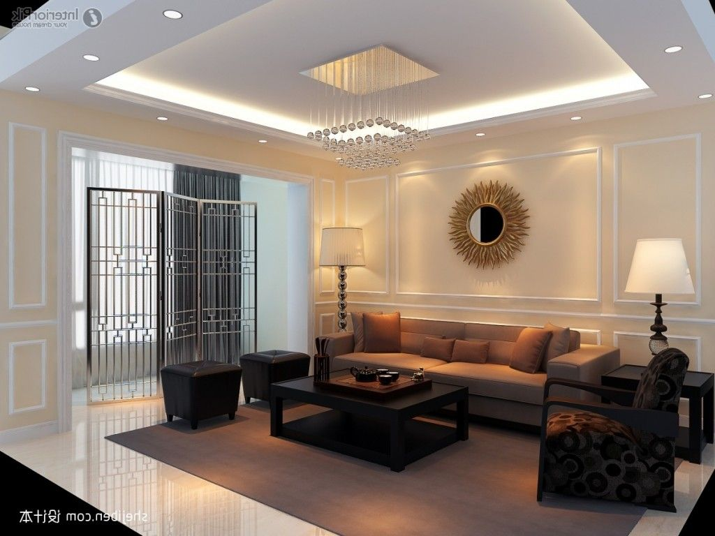 Modern gypsum ceiling designs for bedroom picture for Interior decoration living room roof