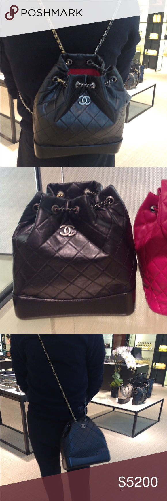 159d9e01e95e2d 100% Auth Chanel Gabrielle Backpack. Large Size Brand New Size Large!! Gabrielle  Backpack. Just arrived for Pre-Fall. Black , with multi colored hardwares.